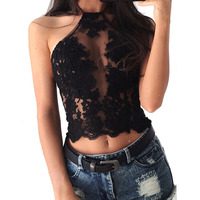 Elegant White Lace Crop Top Summer Beach Backless Short Halter Tops 2017 Fashion Sexy White