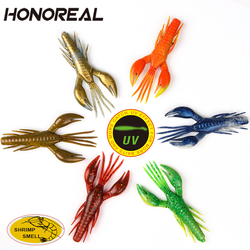 HONOREAL 3pcs/lot Soft Fishing Lures Artificial Fish Bait UV and Shrimp Smell Deep and Shallow Water for Bass Fishing 7.5cm