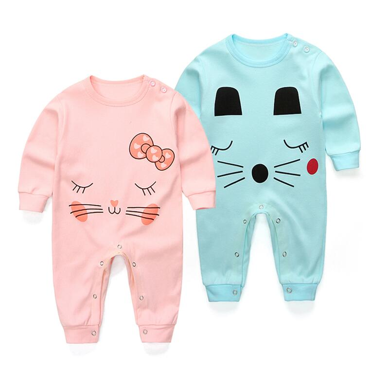 Spring summer Newborn Cartoon Rompers Baby Clothes  Girls cotton long Sleeve Clothing Boy Jumpsuits Roupas Bebes Infant Costume strip baby rompers long sleeve baby boy clothing jumpsuits children autumn clothing set newborn baby clothes cotton baby rompers