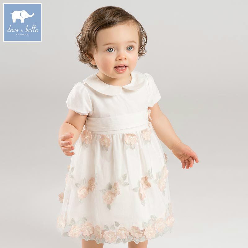 DB7583 dave bella baby embroidered flower dress girls Princess wedding birthday party dress children big bow boutique clothes