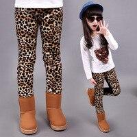 Winter Korea Style Kids Leopard Girls Leggings Velvet Tight Children Clothing Pants Bootcuts Pants Height 110