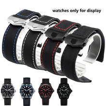 PEIYI watchband 20mm Nylon Leather Wristband Black red Replacement Strap Deployment Fold Buckle Colorful stitched Bracelet