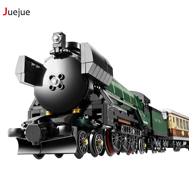 21005 Technic Series Emerald Night Train Model Building Block Bricks Creative Children Toys Kid Gift Compatible With Lepin 10194 lepin 16008 cinderella princess castle city model building block kid educational toys for children gift compatible 71040