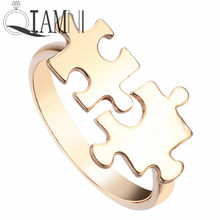 QIAMNI New Arrival Valentines Personalized Jigsaw Puzzle Ring Fashion Jewelry Gift for Women and Girls(China)