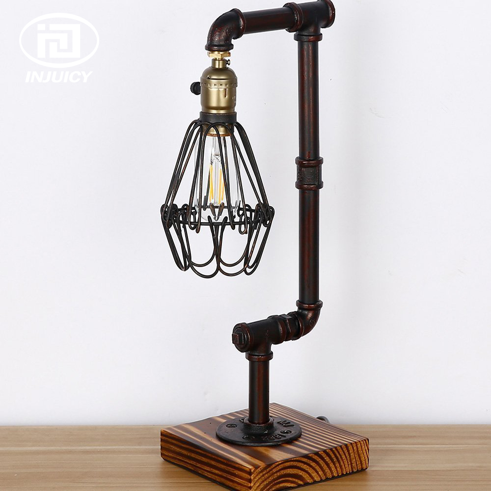 Loft Vintage Industrial Birdcage Water Pipe / Wood Table Light E27 Edison Bulb Desk Lamp Cafe Bar Bedroom Bedside Deco Lighting loft vintage edison glass light ceiling lamp cafe dining bar club aisle t300