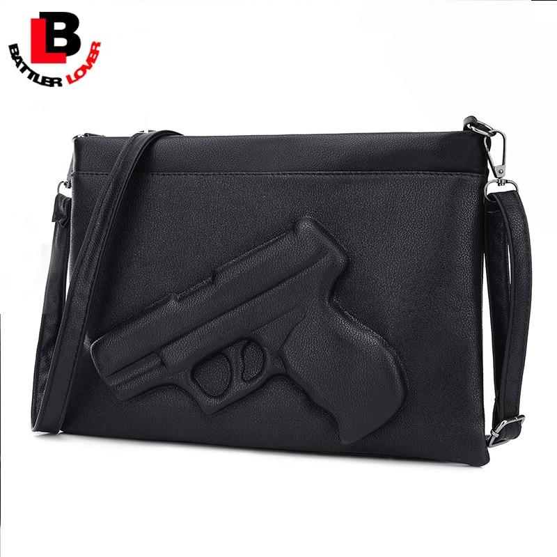 3D Solid Gun Handbag Women's Messenger Bag Crossbody Envelope Vintage Purses PU Leather Pistol Clutch Bag Shoulder Bag Funny