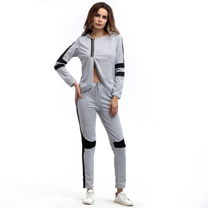 2017 Hot New Signore A Maniche Lunghe Con Cappuccio Autunno Sportswear Moda Vestito Casuale Irregolare Giacca Corta Striscia Grigia Di Grandi Dimensioni