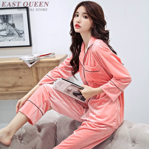 Female sleep & lounge in autumn and spring full sleeve pajama sets turn-down collar sleepwear women home clothes  AA3307  F Karachi
