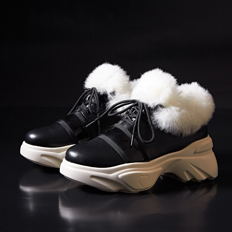 Caliente Las blanco Tobillo Mujeres Plataforma Nieve Msstor Zapatos De Lana Mantener Botas Algodón Invierno Para Negro Mujer Ydwaxa0