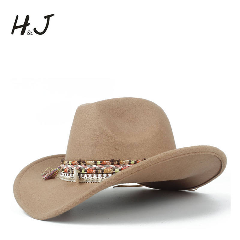 21b51e84279 Fashion Women Wool Hollow Western Cowboy Hat Lady Jazz Outback Jazz Toca Sombrero  Cap Size 56