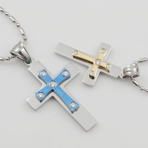 Aço inoxidável Colar de Pingente de Cruz Dos Homens das Mulheres Para Casais Moda Crucifixos frete grátis