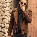 Chaquetas de cuero de los hombres abrigos de piel gruesa caliente de cuero artificial chaqueta corta Negro Mens slim fit chaqueta de cuero de la motocicleta 2016