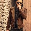 Jaquetas de couro dos homens casacos de pele quente grossa jaqueta de couro artificial Preto curto Mens slim fit jaqueta de couro da motocicleta 2016