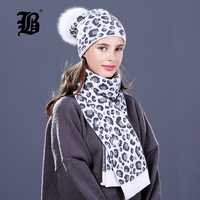 [FLB] Woman Knit Beanie Hat and Scarf Set Real Fox Fur Pompoms Hat High Quality Scarf For Winter Girls Women hat scarf Beanies