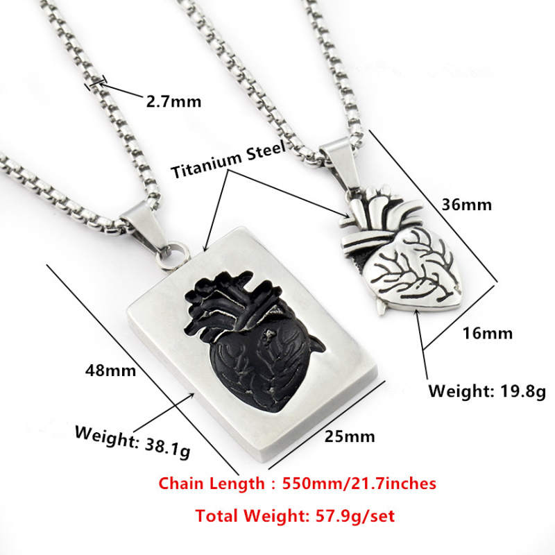 Puzzle Jewelry Couple Collares Anatomical Heart Necklace Women Valentine Day Gift Stainless Steel Chain Pendant Collares 19 18
