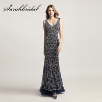 Luxury Evening Dresses Long 2018 Sexy Backless V Neck With Heavy Beading Navy Blue Mermaid Formal