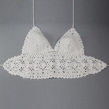 Women Bikini Bra Crochet High Waist Deep V White