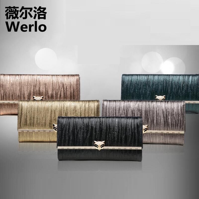 WERLO 2017 New Brand Designer Women Wallets High Quality Genuine Cow Leather Ladies Clutch Wallet For Girl's Gift Carteira SJ171