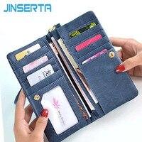 JINSERTA Smartphone Cassa Del Sacchetto per 5.5 pollice Donne Portafogli Dull Polacco In Pelle Portafoglio con Doppia Cerniera
