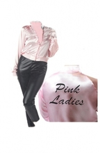 FREE SHIPPING Grease Pink Ladies Satin Jacket Lady 50's Costume size s-6xl