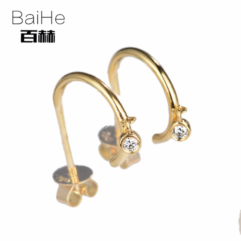 BAIHE Solid 14K Yellow Gold 0.06ct H/SI 100% Genuine Natural Diamond Engagement Fine Jewelry Elegant GIFT Unique Stud Earrings