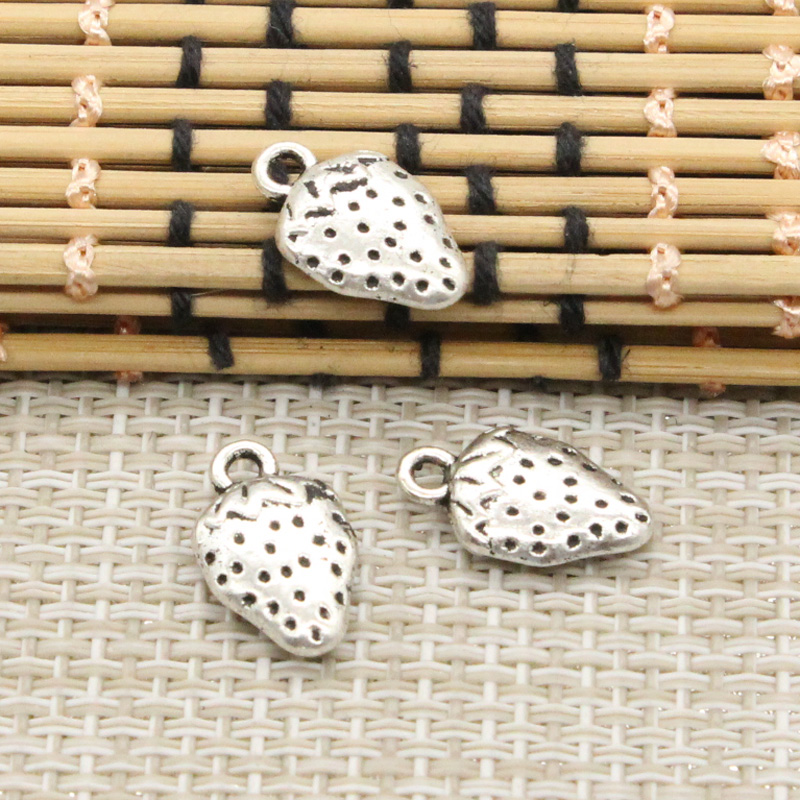 10pcs Charms two sided strawberry 17*10mm Tibetan Silver Plated Pendants Antique Jewelry Making DIY Handmade Craft
