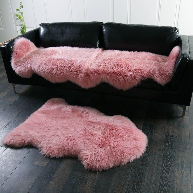 AOZUN Natural Premium Australian Sheepskin Rug Pink Color