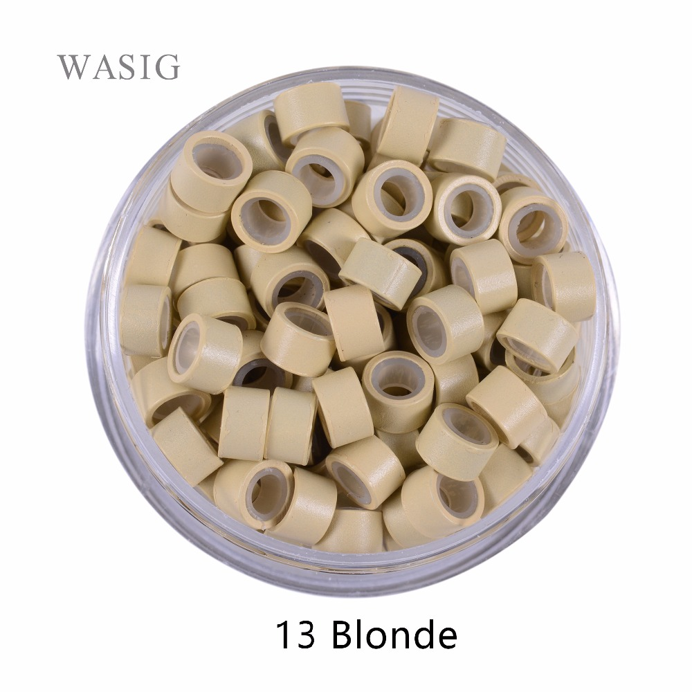 1000 pcs 5.0mm*3.0mm*3.0mm microring con vite, silicone micro rings/beads for hair extensions . 9 Colors Optional