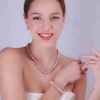 JYX 925 Silver Necklace Sets 11.5 12.5mm Big Flat Round Lavender Freshwater Pearl Pearl Wedding Necklace Bracelet Earring Set
