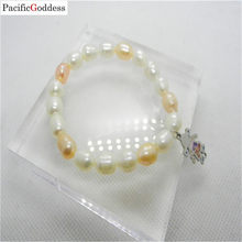 fresh water pearl bracelet Girl pearl bracelet stainless steel bracelet for girl as best gift(China)