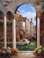 Pintado a mano abstracta moderna decorativa ciudad río villa de agua pintura al óleo sobre lienzo por mayor se da la bienvenida