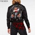 European Autumn Floral Bird Embroidery PU Leather Patchwork Jacket Women Punk Rivet Bomber Jacket Street Outwear Chaquetas Mujer