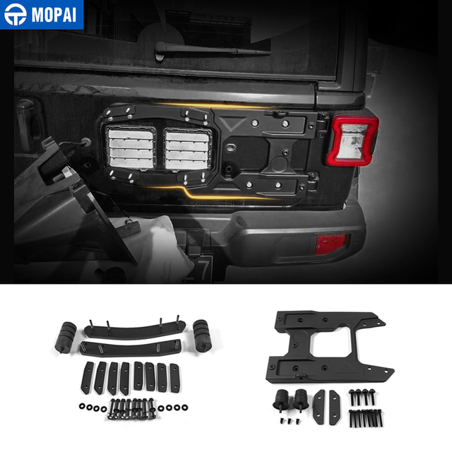 MOPAI Rear Door Hinge Kit for Jeep Wrangler JL 2018 Car Spare Tire Mounting  Holder Bracket Accessories