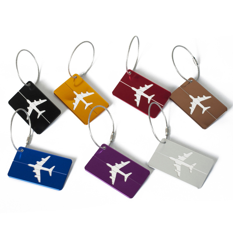 5pcs/Lot Travel Accessories Aluminum Alloy Airplane Luggage Tag Suitcase ID Address Holder Baggage Boarding Tags Portable Label image