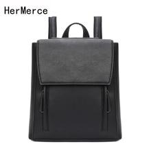 Hermerce бренд рюкзак для 2017 кожаный рюкзак женский подростковые рюкзаки для девочек сумки на плечо черные мешки Bolsas feminina