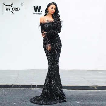 Missord 2020 Sexy Off Piuma Della Spalla Manica Lunga Sequin di lunghezza del pavimento Del Partito di Sera Maxi Vestito Riflettente Vestdios FT19005