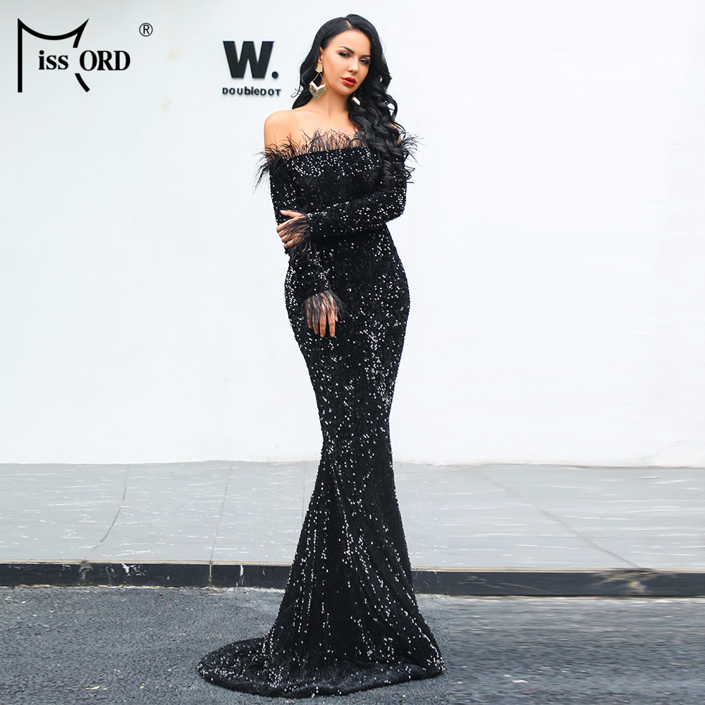 Missord 2020 Sexy Off Shoulder Feather LongSleeve Sequin Floor Length Evening Party Maxi Reflective  Dress Vestdios FT19005