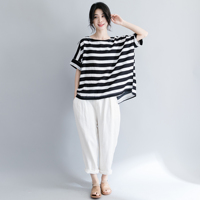 Loose Large Size Striped Women's Shirt Ladies Tops Pullover Blouse Female Summer Fashion Wild Casual Style Blusa Feminina
