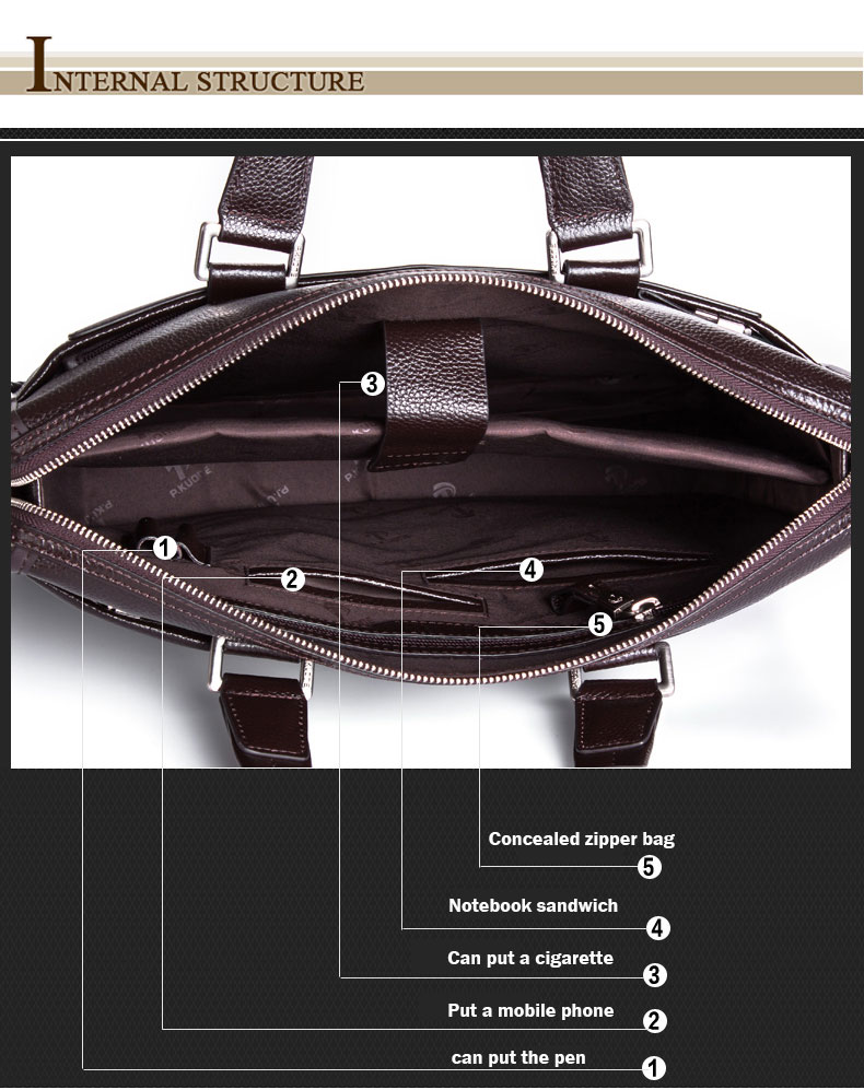 Genuine leather briefcase, laptop leather bag, for 15 inch notebook computer, 15.6 inch laptop bag