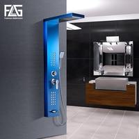 FLG Bathroom Shower Panels Stainless Steel Sapphire Rain Waterfall Shower Panel Massage System Shower Column with Jets