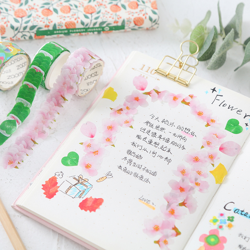 Creative Petals Washi Paper Tape DIY Tearable Stickers Creative Japanese Collage Techo Decoration Stickers in Stationery Stickers from Office School Supplies