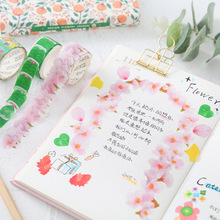 Creative Petals Washi Paper Tape DIY Tearable Stickers Japanese Collage Techo Decoration