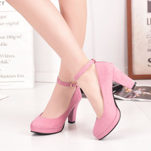 Women Pumps Platform High Heels Mary Jane Shoes Buckle Sexy Ladies Party Shoes Thick Heel Female Wedding Shoes Black Red Heels цена 2017