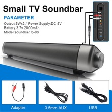 Soundbar 10W New Wireless Bluetooth Speaker Super Bass Stereo Loudspeaker Long-standby Black Soundbar Speakers for Phone TV