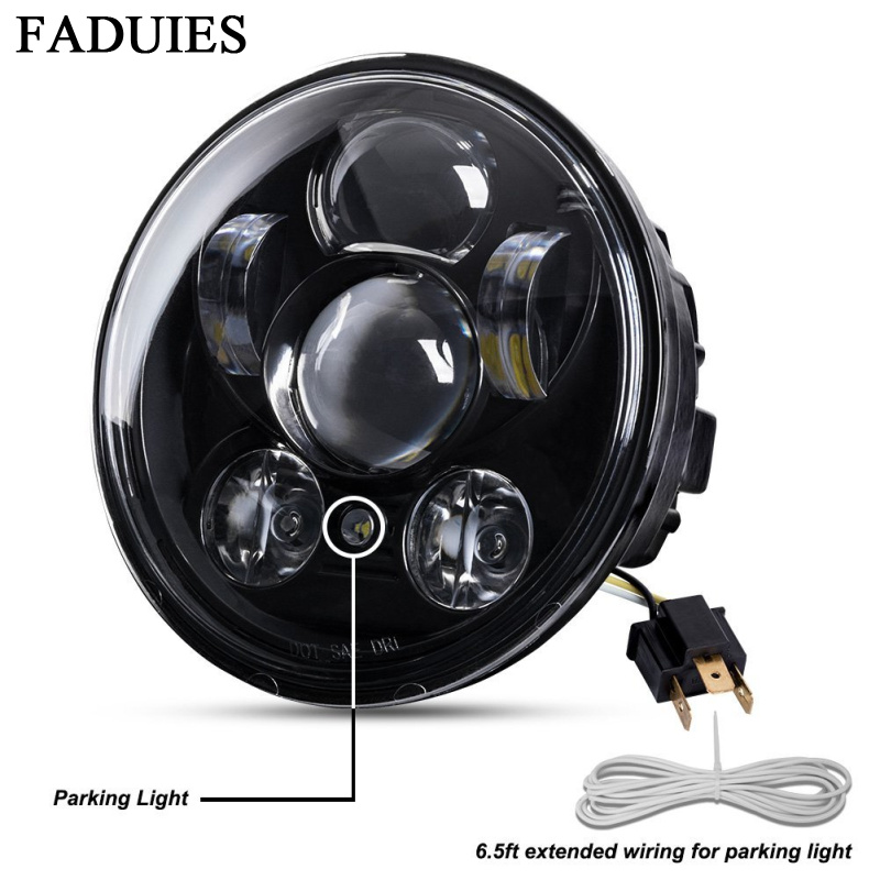 FADUIES Chrome 5.75 Inch LED Headlamp 5 3/4 Inch  LED Headlamp For Harley Iron 883 Dyna Street Bob FXDB Sportsters