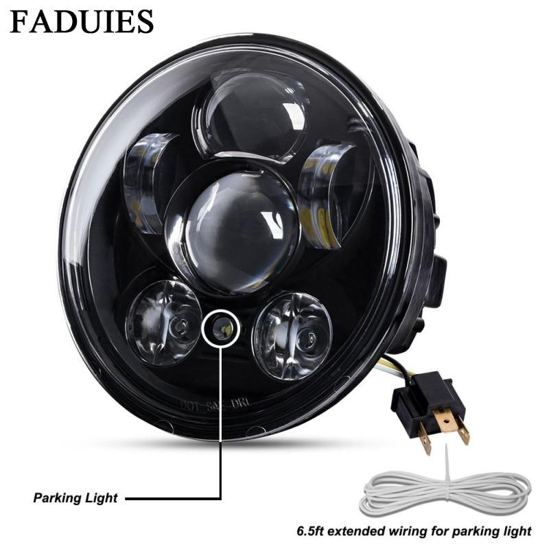 FADUIES Chrome 5.75 pouces LED phare 5 3/4 pouces LED phare pour Harley Iron 883 Dyna Street Bob FXDB Sportsters