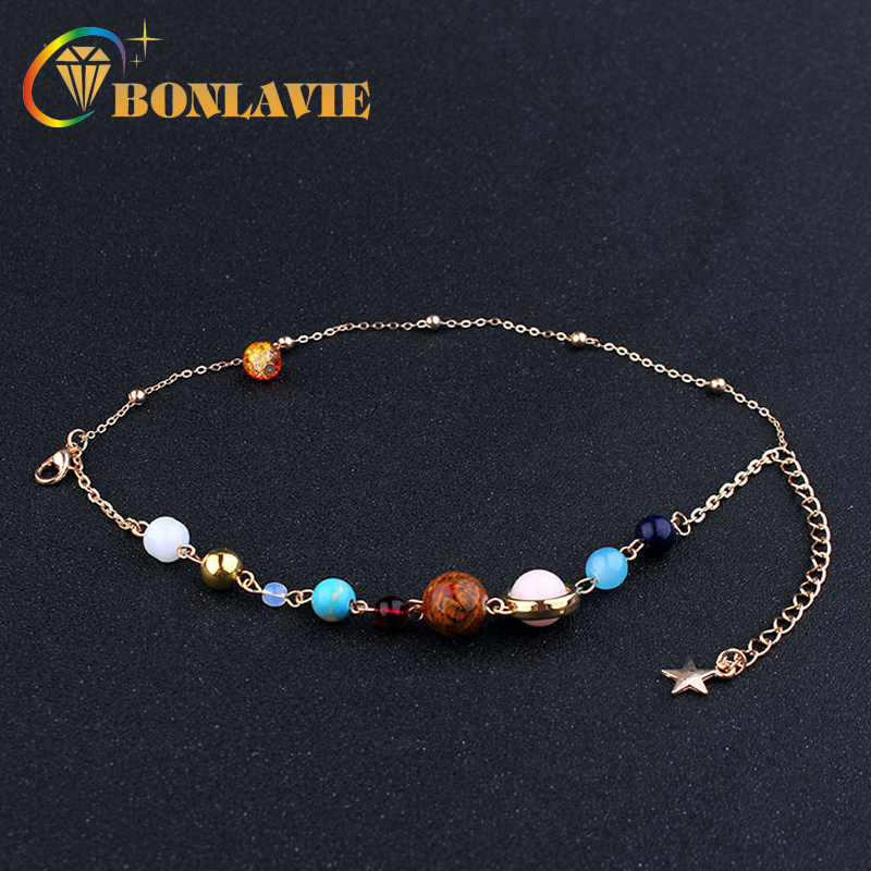 2 Ply Universe Galaxy the Eight Planets Solar System Guardian Star Natural Stone Chain Bracelet Bangle for Women Gift