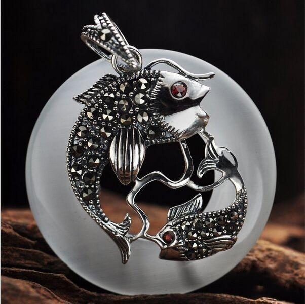 BOCAI bijoux en gros 925 bijoux en argent sterling annuel poisson chanceux femme pendentif 031826 w