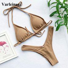 Bikini brasileño acanalado para mujer, traje de baño para mujer Sexy, conjunto de Bikini de dos piezas con cuello Halter, bañador V1192 2020