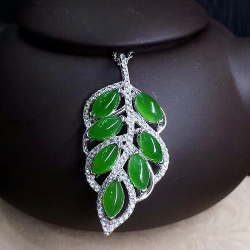 yu xin yuan natural green Jasper leaf shape 925 silver inlay pendant with free silver chain